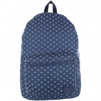Armani Junior Blue/Navy Multi Logo Backpack