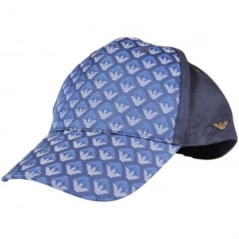 Armani Junior Navy/Blue Eagle Print Cap