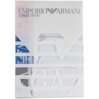 Armani Underwear 3 Pack White Multi Trunks