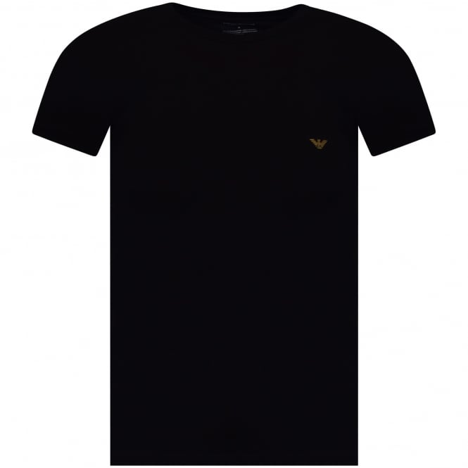 ARMANI UNDERWEAR Black/Gold Logo Short Sleeve T-Shirt