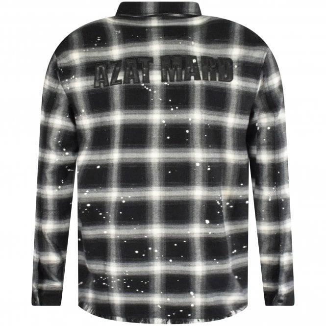 AZAT MARD Check Distressed Shirt With Logo Reverse