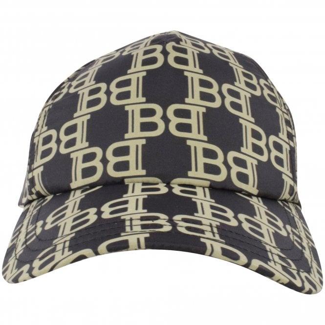 BALMAIN Black/Khaki Logo Print Baseball Cap Front