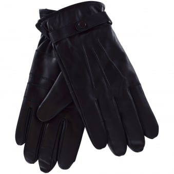 Barbour Black Leather Burnished Gloves