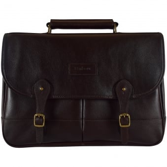 Barbour Brown Leather Brief Case
