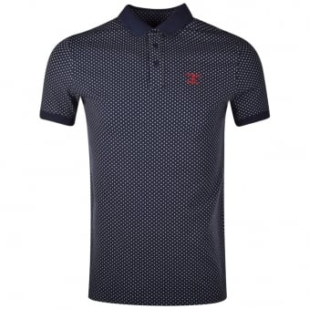 Barbour Navy Ewan Polka Dot Polo Shirt