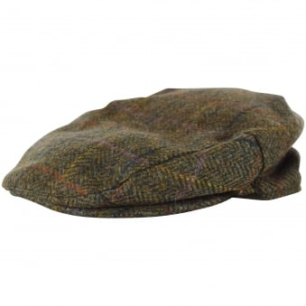 Barbour Olive Check Tweed Grandad Hat