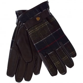 Barbour Tartan Leather Gloves