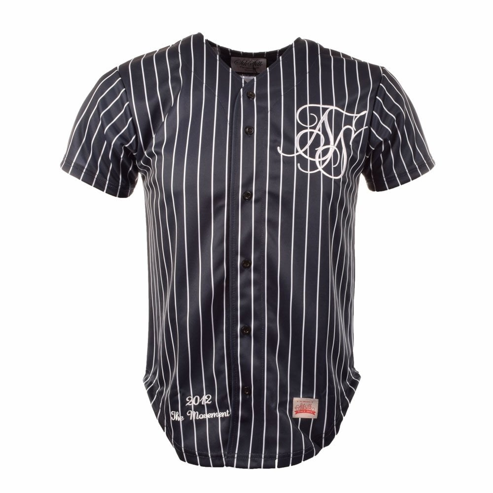 Sik silk baseball cl navy white stripe fade button for Baseball jersey shirt dress