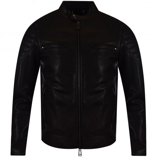 BELSTAFF Black Stoneham Blouson Leather Jacket