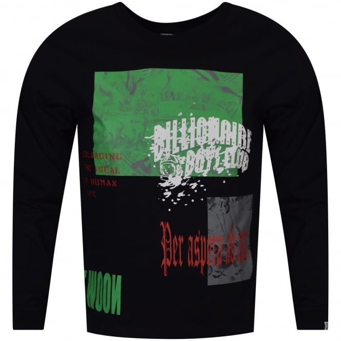 BILLIONAIRE BOYS CLUB Black/Multi Space Collage Long Sleeve T-Shirt