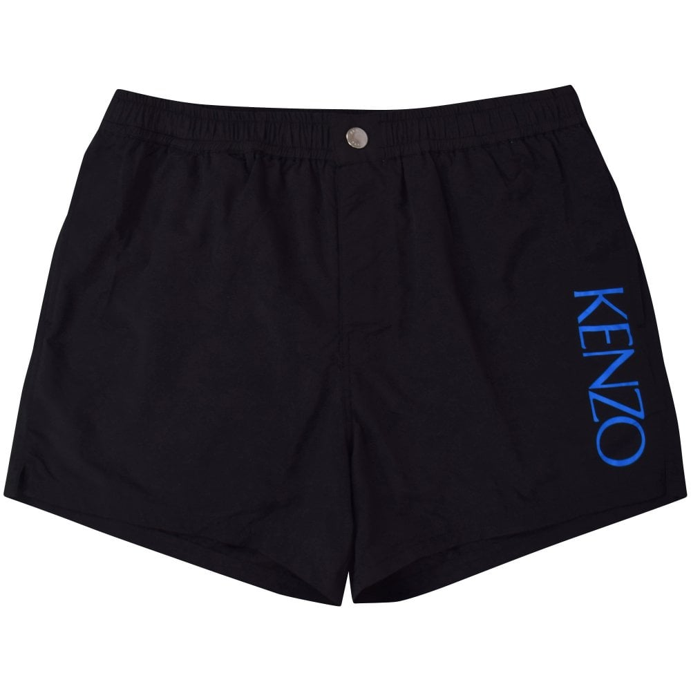 04fc271863 KENZO Black/Blue Logo Swim Shorts - Shorts & Swimwear from ...