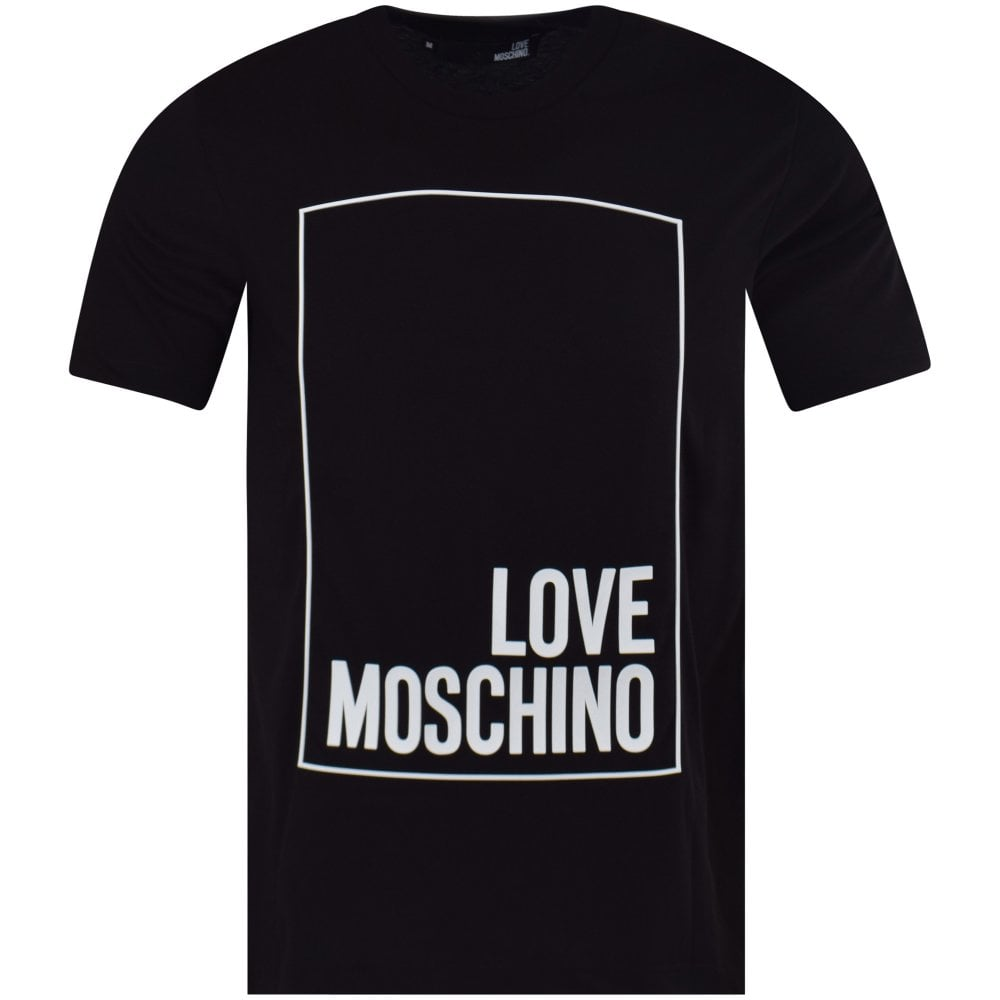 b75a6776e8ba5 LOVE MOSCHINO Black Box Logo T-Shirt - Men from Brother2Brother UK
