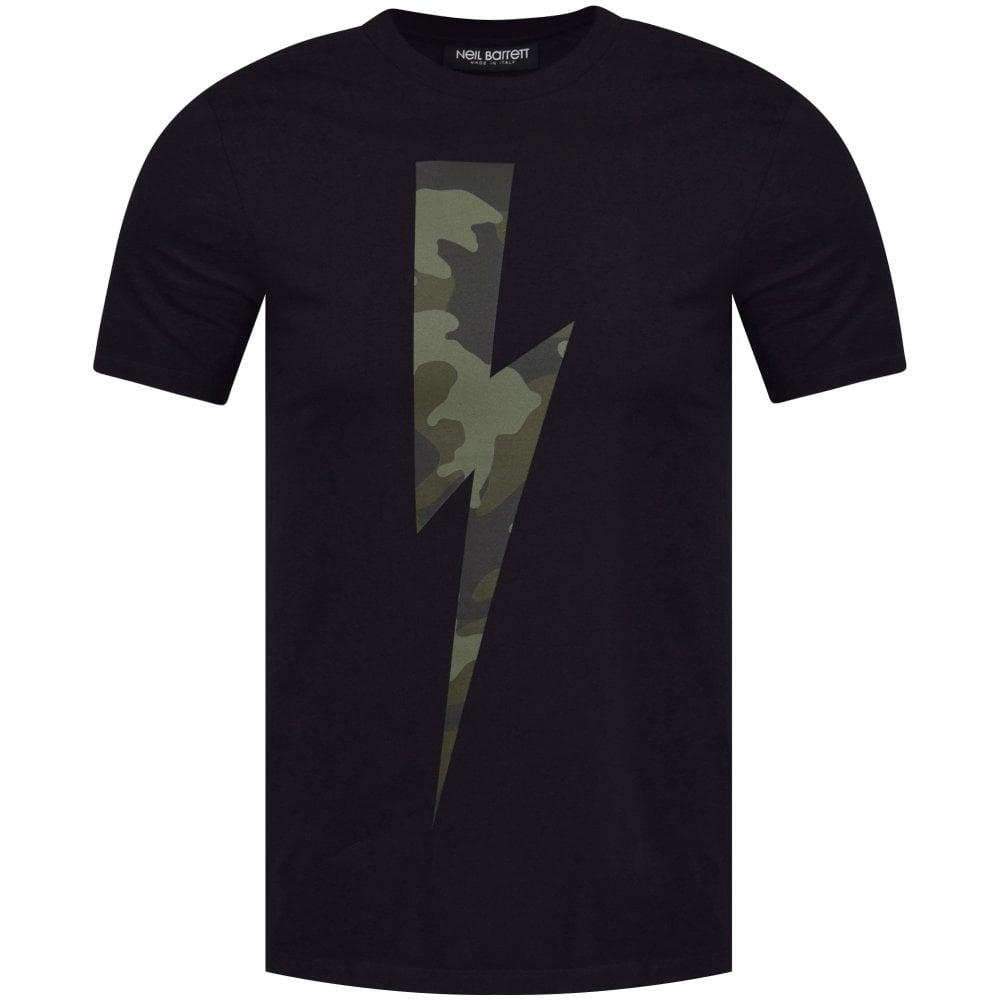9a6a56d3 NEIL BARRETT Black/Camo Lightning Bolt T-Shirt - Men from ...