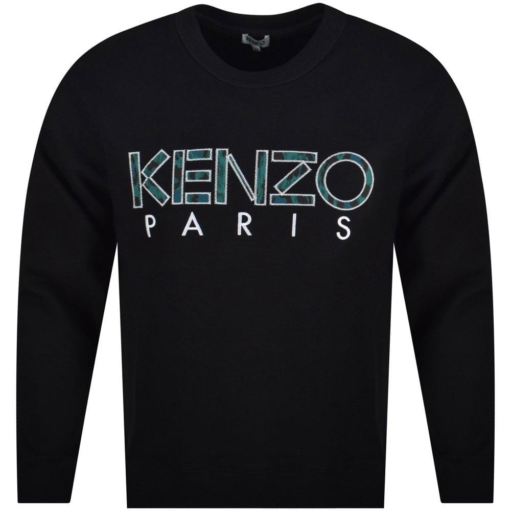 385f5e07 KENZO Black Crew Neck Written Logo Sweatshirt - Department from ...