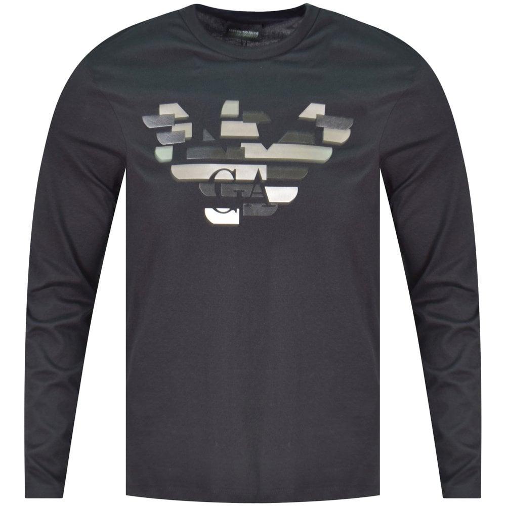 bf06101aca Black Embossed Logo Long Sleeve T-Shirt