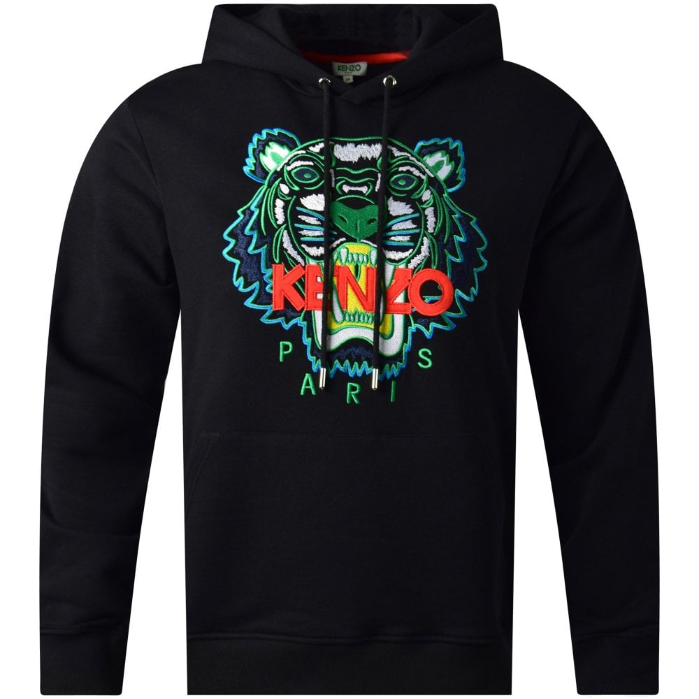 b83a4842 KENZO Black Embroidered Tiger Pullover Hoodie - Clothing from ...