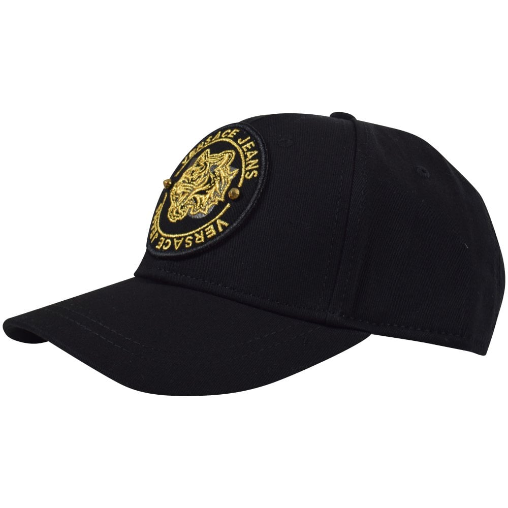 82960d225a1 VERSACE JEANS Black Gold Badge Logo Cap - Men from Brother2Brother UK
