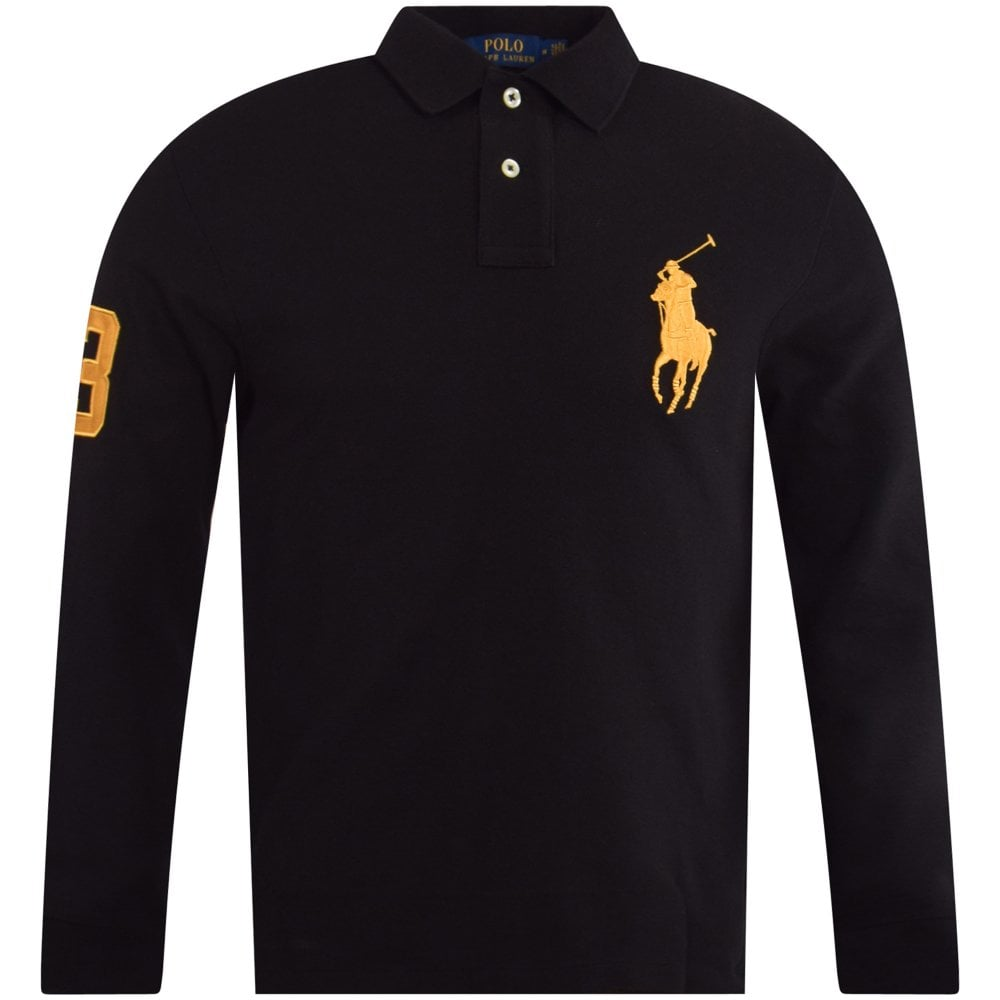 discount coupon 100% authenticated various design Black/Gold Big Pony LS Polo Shirt