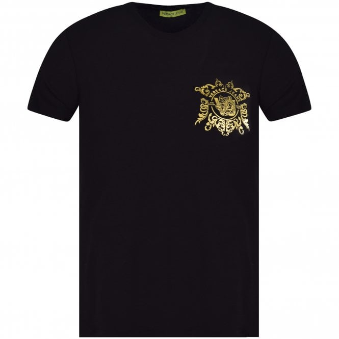 479641e9 VERSACE JEANS COUTURE Black/Gold Chest Logo T-Shirt - T-Shirts from ...