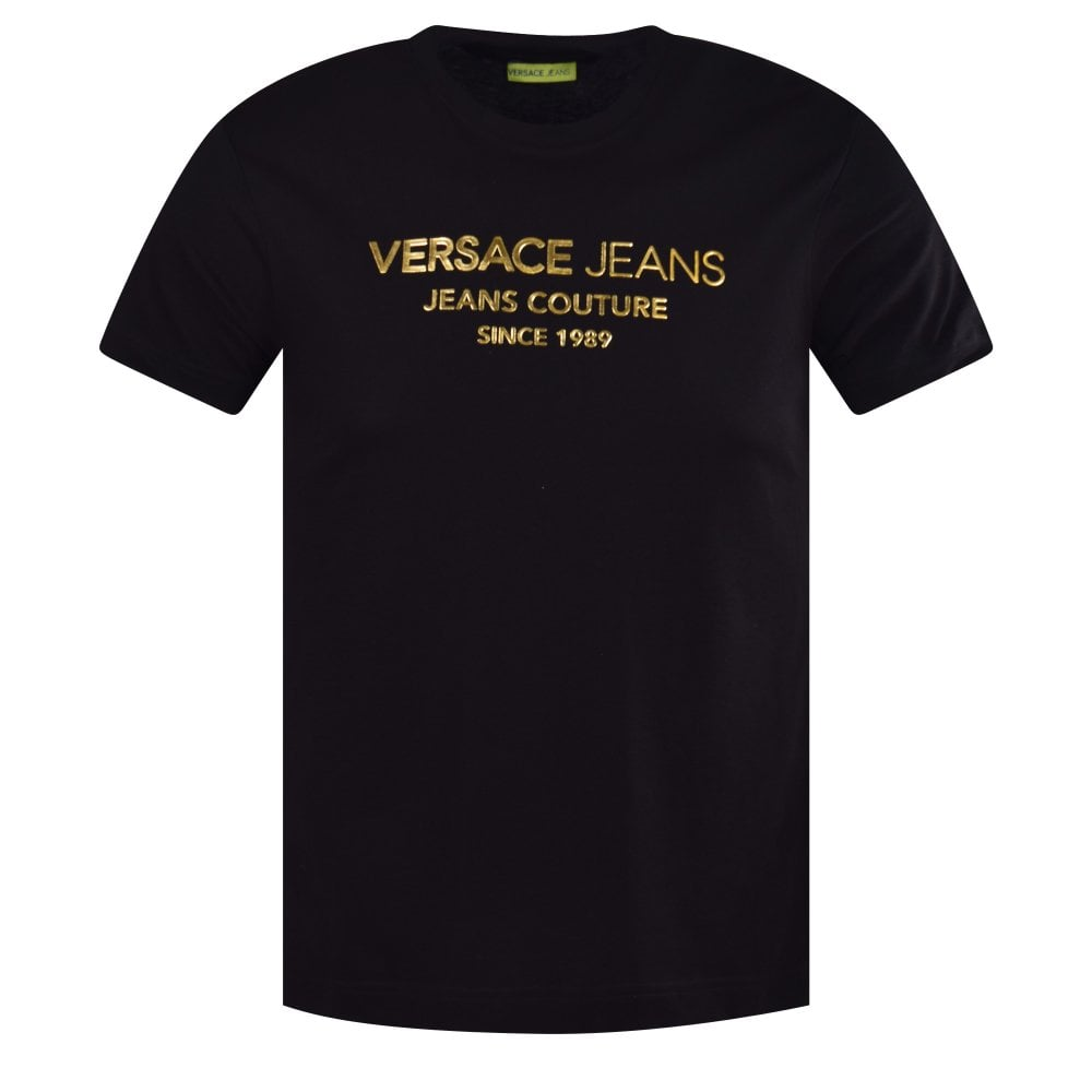 2959dc10a VERSACE JEANS Black/Gold Couture Logo T-Shirt - T-Shirts from ...