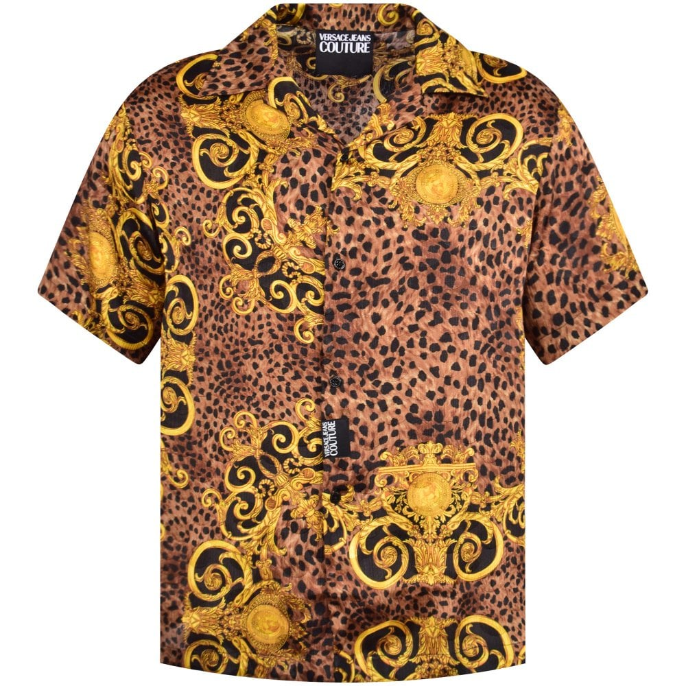 ca29c05cb4 Black/Gold Leopard Baroque Bowling Shirt