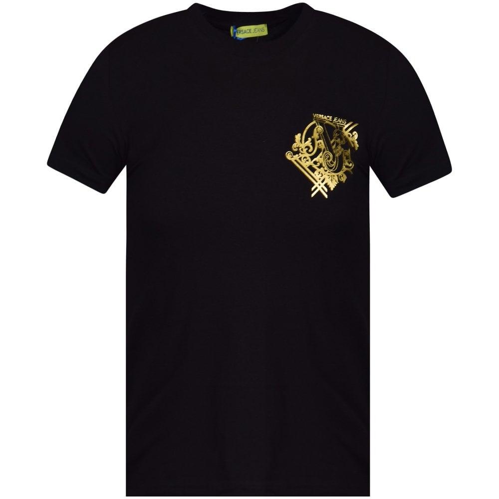 29c1d50e VERSACE JEANS COUTURE Black/Gold Logo Print T-Shirt - Department ...
