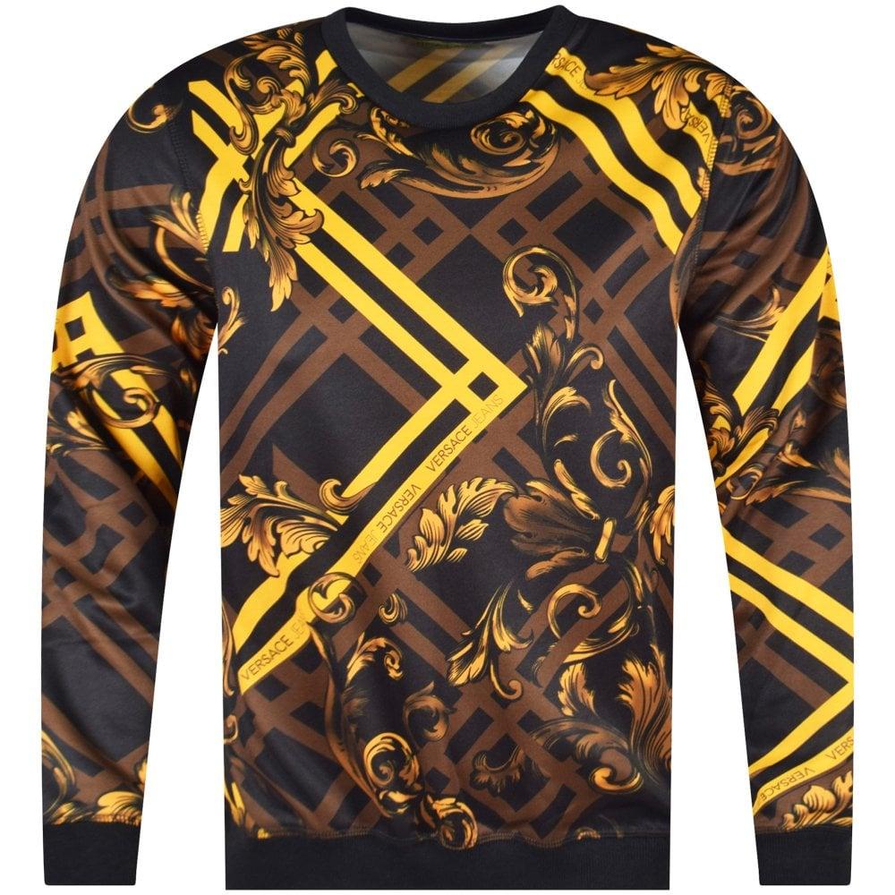 65348b4e VERSACE JEANS COUTURE Black/Gold Multi-Print Sweatshirt - Department ...