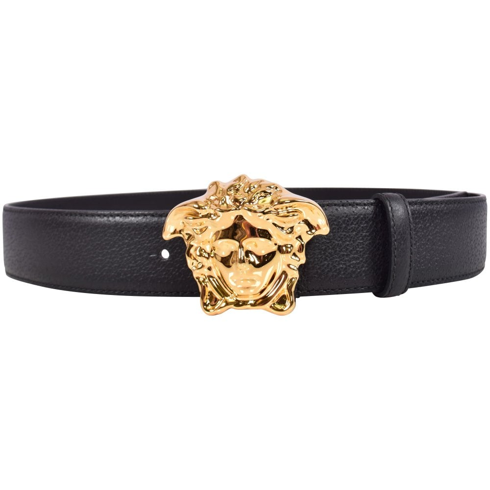 Versace Black Gold Palazzo Calf Leather Belt