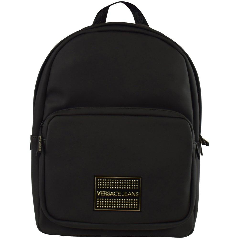 93df494efe VERSACE JEANS Black Gold Stud Logo Backpack - Men from Brother2Brother UK