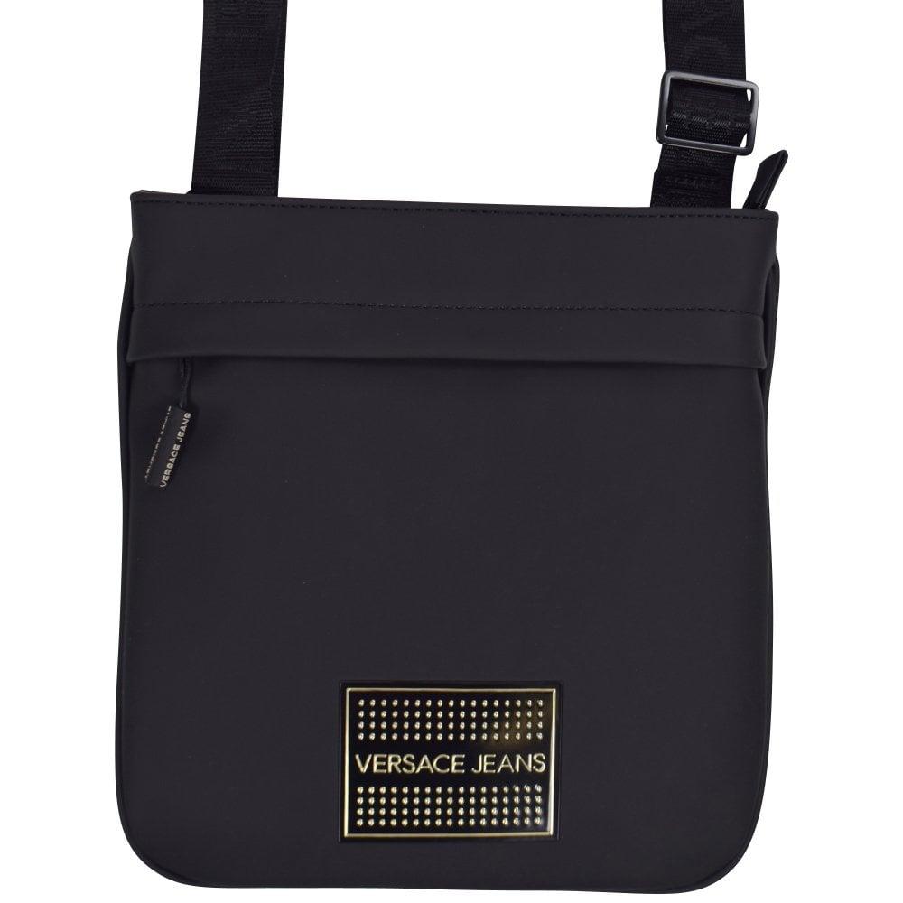 52e8140f20 VERSACE JEANS Black Gold Stud Logo Messenger Bag - Men from ...