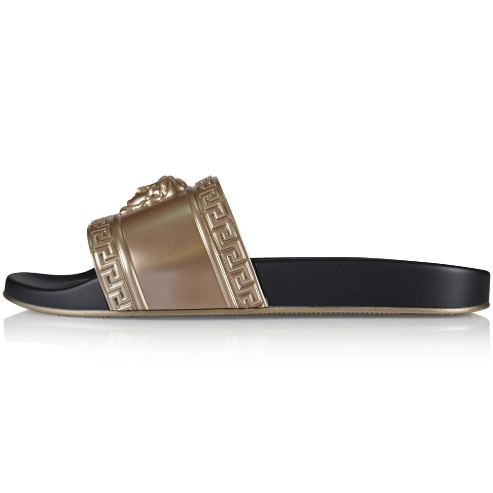 373f5183758e VERSACE Black Gold Two Tone Medusa Slides - Men from Brother2Brother UK