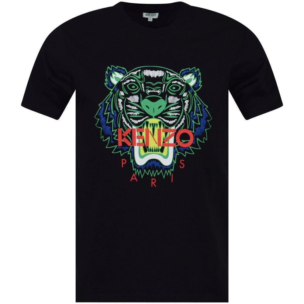 ee2ec2e9 KENZO Black Green Contrast Tiger Head T-Shirt - Department from ...