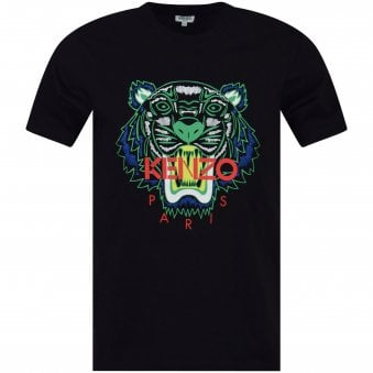 9ff9138d Black Green Contrast Tiger Head T-Shirt