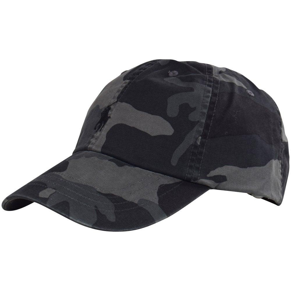 POLO RALPH LAUREN Black Grey Camo Logo Baseball Cap - Men from ... a50b1b40c76