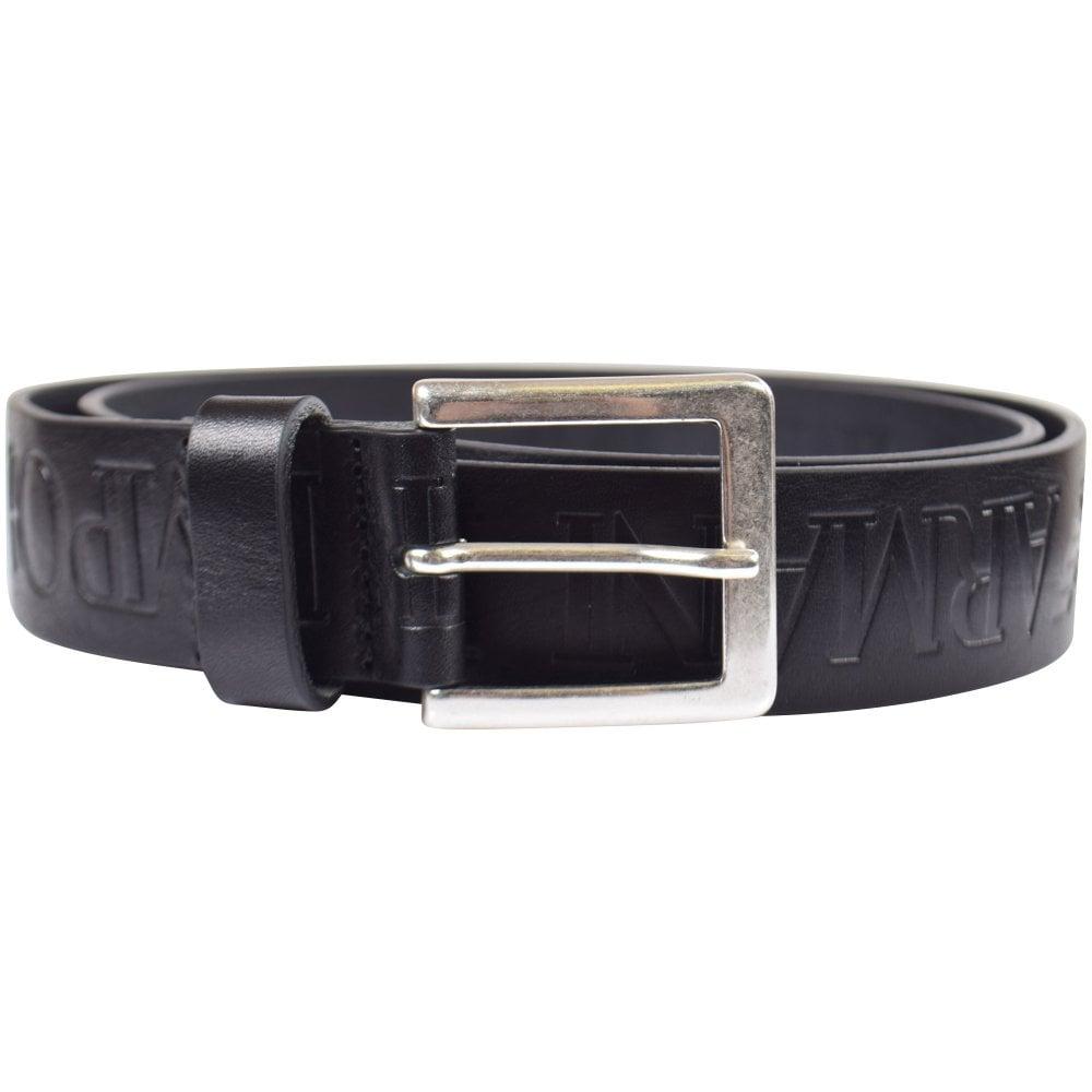 d62411dea4 Black Logo Embossed Leather Belt