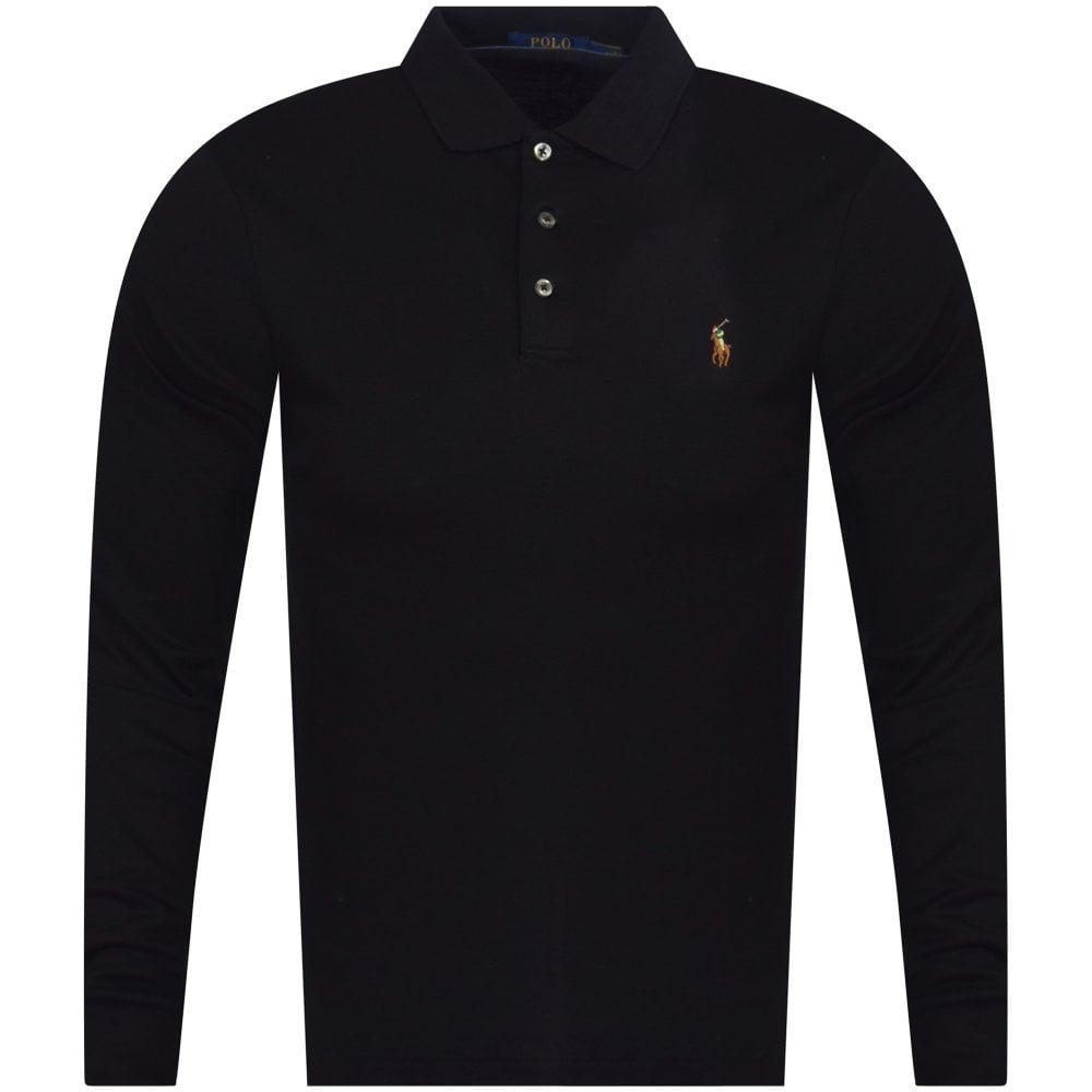 7e4d1493 POLO RALPH LAUREN Black Logo Long Sleeve Polo Shirt - Polo Shirts ...