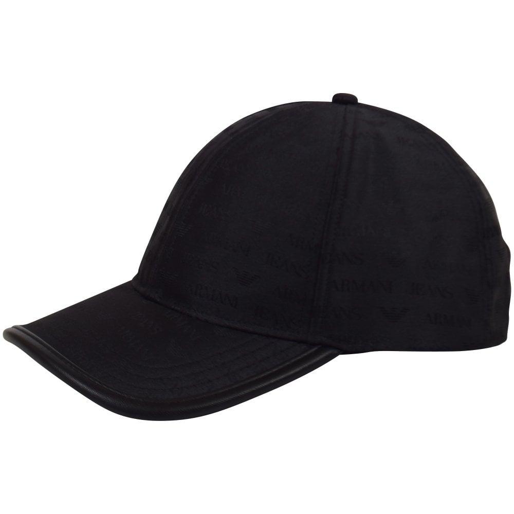 e15d012545f EMPORIO ARMANI Black Logo Print Baseball Cap - Men from ...