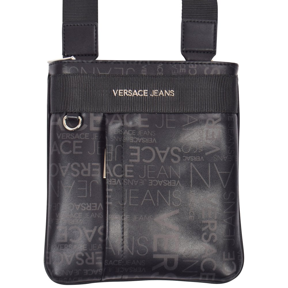 VERSACE JEANS Black Logo Print Messenger Bag - Men from ... 7524c21ef9b83