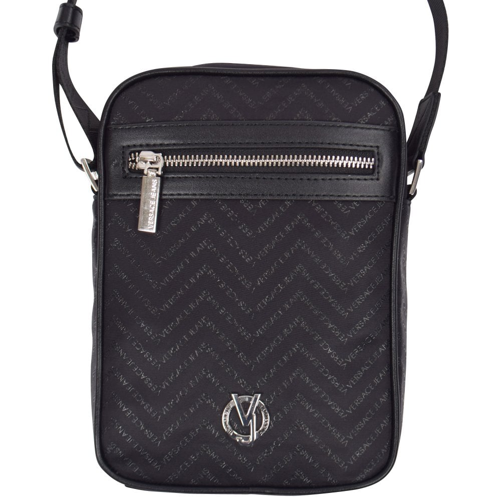 VERSACE JEANS Black Logo Print Shoulder Bag - Men from Brother2Brother UK 4a3d4773c6e3b