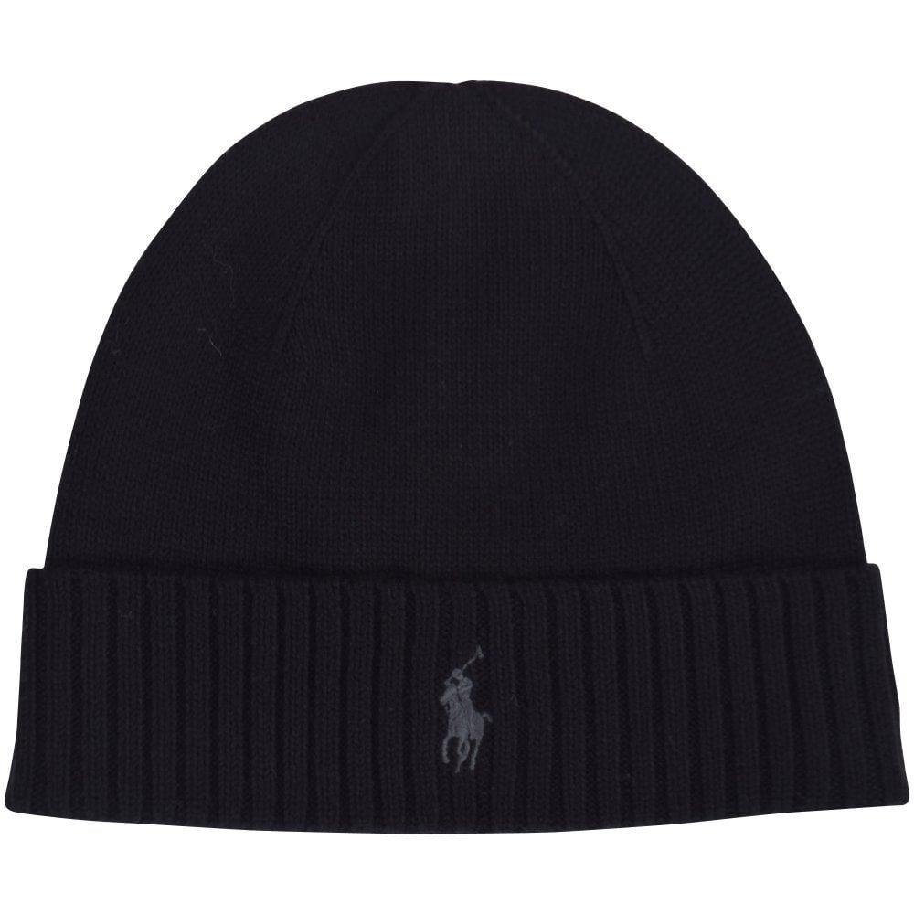 e655b5bc9ee76 POLO RALPH LAUREN Black Logo Wool Beanie Hat