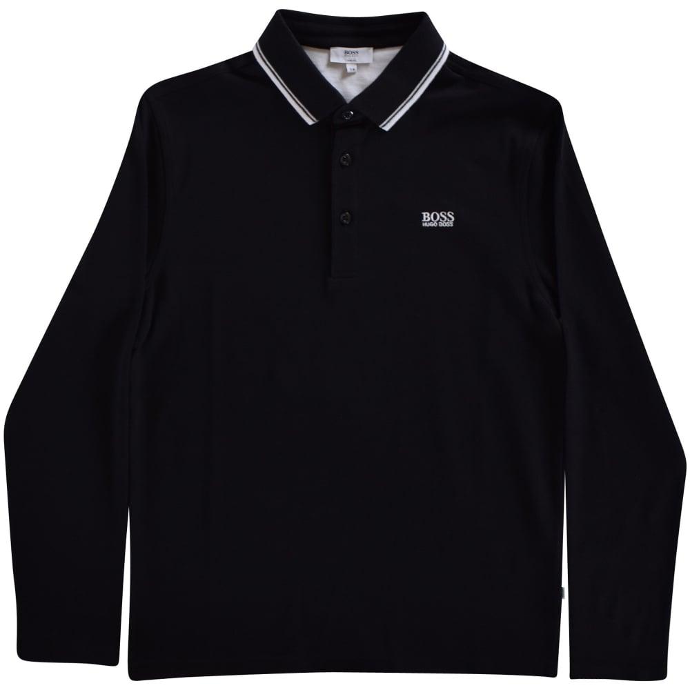 80fdf109f HUGO BOSS JUNIOR Black Long Sleeve Polo Shirt - Junior from ...
