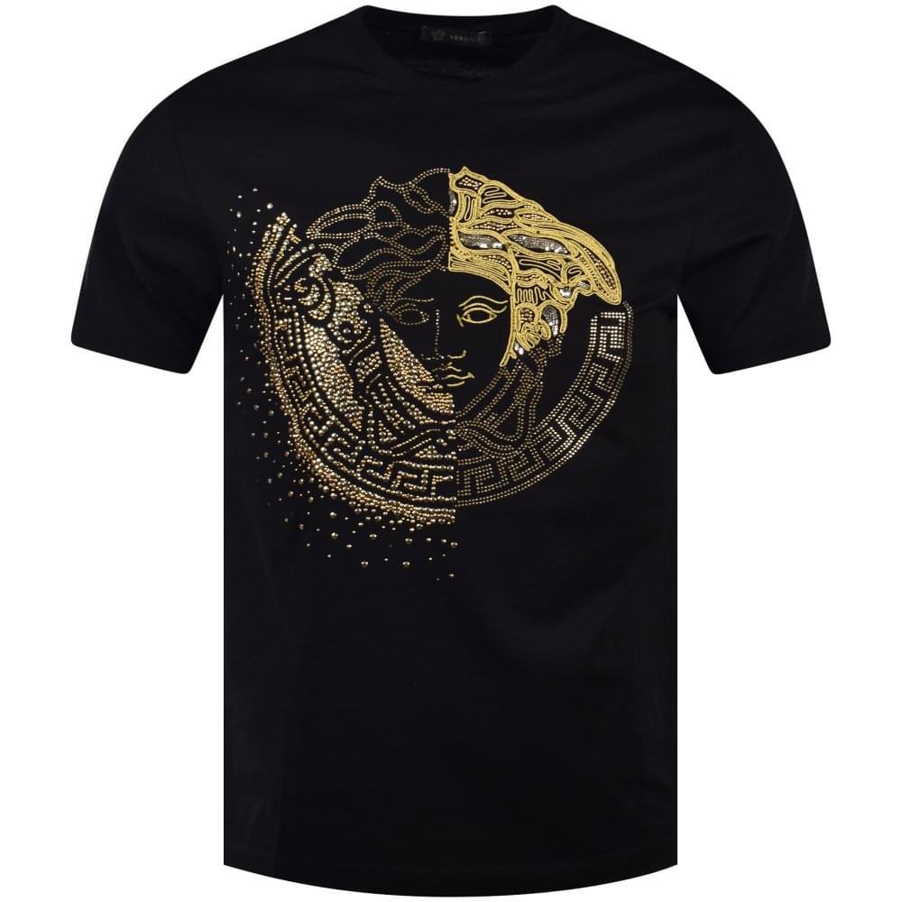 0fc7f7179 VERSACE Black Mixed Medusa Logo T-Shirt - Department from ...