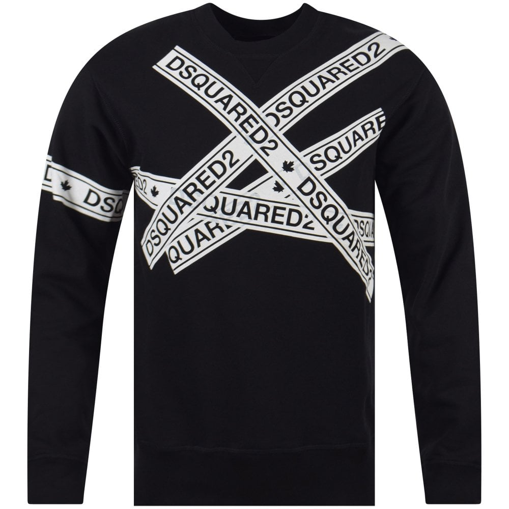 3b845f62bc2c6c DSQUARED2 Black Multi-Tape Sweatshirt - Men from Brother2Brother UK