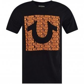 3e628873 Black/Orange Script Print T-Shirt · TRUE RELIGION ...