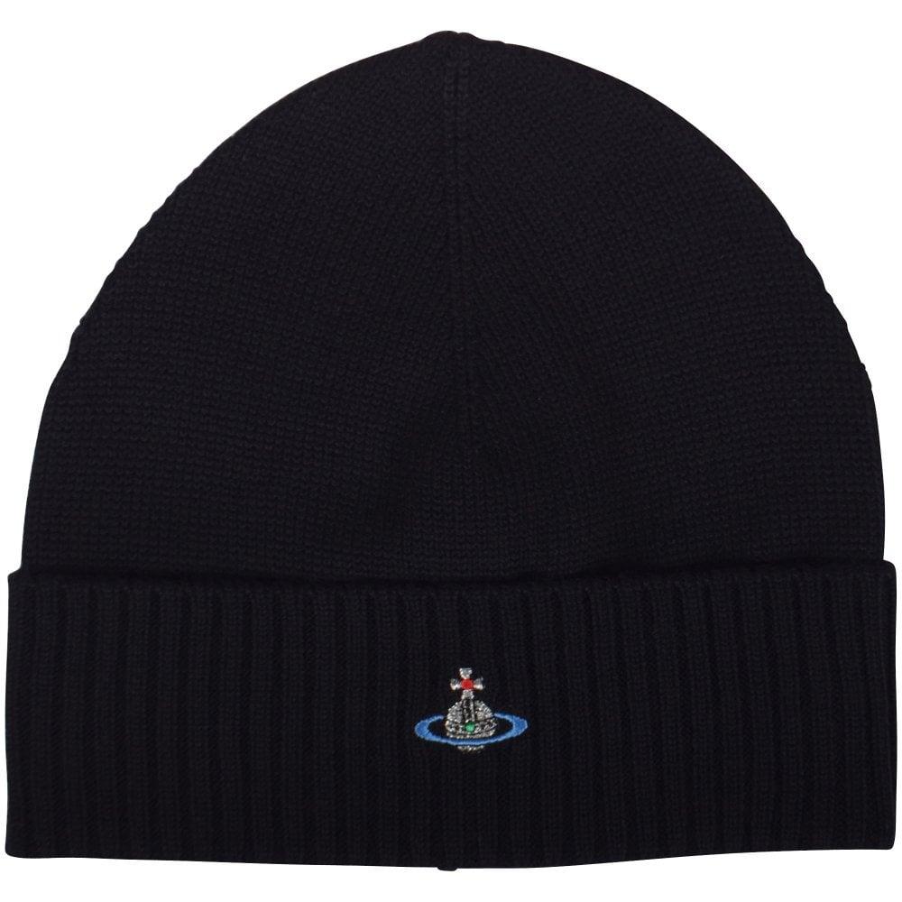 VIVIENNE WESTWOOD Black Orb Beanie Hat - Men from Brother2Brother UK c9af835d23fc