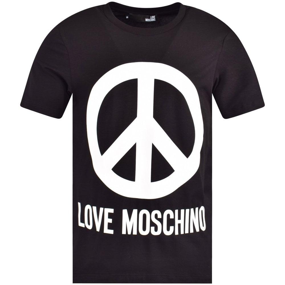 389e8b6c536 LOVE MOSCHINO Black Peace Logo T-Shirt - Department from ...