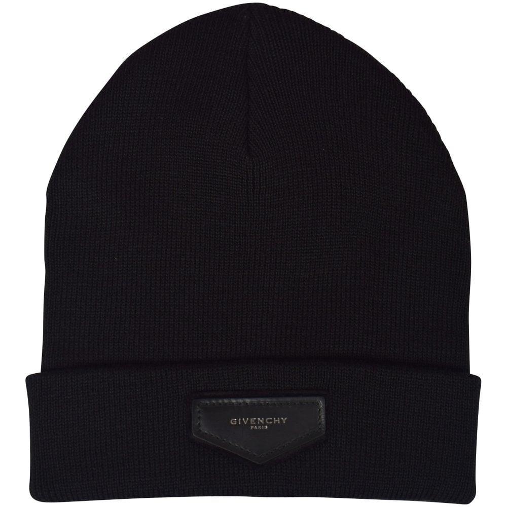 f04ebab9a29 GIVENCHY Black Plaque Logo Beanie Hat