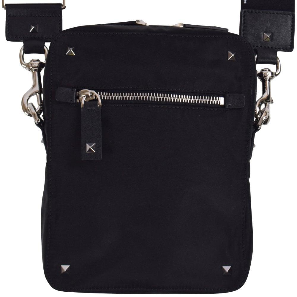 faa6869306c85 VALENTINO Black Rockstud VLTN Crossbody Bag - Men from ...