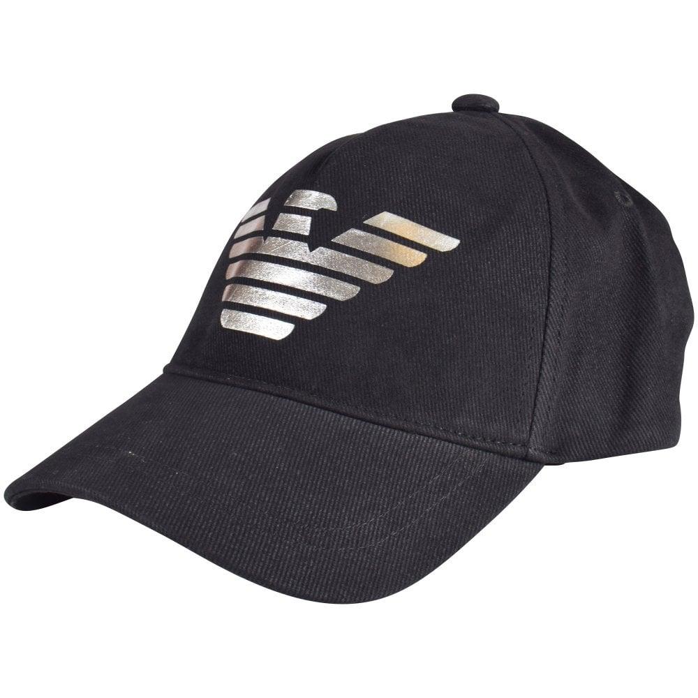 0ea8819a116 EMPORIO ARMANI Black   Silver Eagle Baseball Cap - Men from ...