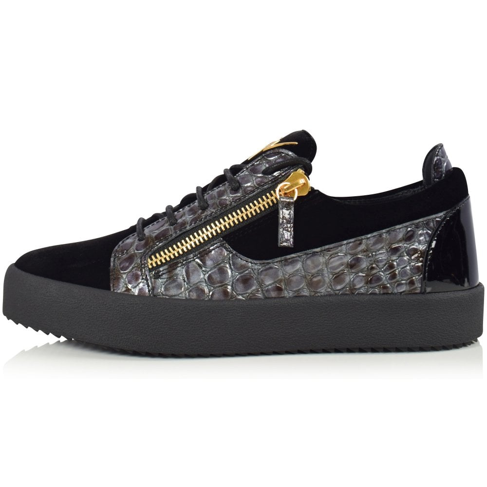 15c6095f5b90b GIUSEPPE ZANOTTI Black/Snake Frankie Low Trainers - Men from  Brother2Brother UK